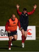 29 June 2017; Jonathan Sexton, right, and Rory Best during a British and Irish Lions training session at Jerry Collins Stadium in Porirua, New Zealand. Photo by Stephen McCarthy/Sportsfile