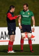 29 June 2017; Jonathan Sexton, left, and Alun Wyn Jones during a British and Irish Lions training session at Jerry Collins Stadium in Porirua, New Zealand. Photo by Stephen McCarthy/Sportsfile