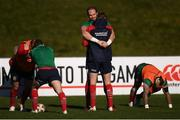 29 June 2017; Alun Wyn Jones holds Jonathan Sexton during a British and Irish Lions training session at Jerry Collins Stadium in Porirua, New Zealand. Photo by Stephen McCarthy/Sportsfile