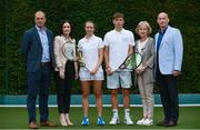 29 June 2017; AIG Insurance was today officially announced as the new sponsor of the AIG Irish Open Tennis Championship, which will return to the Fitzwilliam Lawn Tennis Club in Dublin from July 22nd to 29th. Irish International tennis stars Sinéad Lohan and Simon Carr along with his dad, former Dublin Senior Football Captain, Tom Carr were on hand at Fitzwilliam Lawn Tennis Club today to launch the new sponsorship. AIG are also proud sponsors of Dublin GAA. Pictured in attendance at the launch, are from left, Richard Fahey, CEO Tennis Ireland, Rebecca Claffey, AIG Ireland, Sinéad Lohan, Simon Carr, Helen Sheilds, President at Fitzwilliam Lawn Tennis Club and Tommy Carr, former Dublin GAA Captain.  Fitzwilliam Lawn Tennis Club, Ranelagh, Dublin. Photo by Sam Barnes/Sportsfile