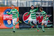 29 June 2017; Gary Shaw of Shamrock Rovers, left, celebrates with teammates David Webster, centre, and Ronan Finn after scoring his side's first goal during the Europa League First Qualifying Round first leg match between Stjarnan and Shamrock Rovers at Stjörnuvöllur, Gardabaer, in Iceland. Photo by Eva Björk/Sportsfile