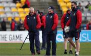 30 June 2017; British and Irish Lions head coach Warren Gatland, left, kicking coach Neil Jenkins and defence coach Andy Farrell, right, during their captain's run at Jerry Collins Stadium in Porirua, New Zealand. Photo by Sportsfile