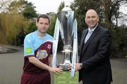 24 February 2012; In attendance at the Airtricity League 2012 launch is Paul Crowley, Drogheda United, left, with Jason Cooke, Head of Communications with Airtricity. Airtricity League 2012 Launch, The Herbert Park Hotel, Ballsbridge, Dublin. Picture credit: Brian Lawless / SPORTSFILE