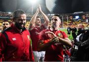 1 July 2017; Conor Murray, right, Sam Warburton and defence coach Andy Farrell, left, of the British & Irish Lions following the Second Test match between New Zealand All Blacks and the British & Irish Lions at Westpac Stadium in Wellington, New Zealand. Photo by Stephen McCarthy/Sportsfile