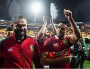 1 July 2017; Conor Murray, right, and defence coach Andy Farrell of the British & Irish Lions following the Second Test match between New Zealand All Blacks and the British & Irish Lions at Westpac Stadium in Wellington, New Zealand. Photo by Stephen McCarthy/Sportsfile