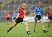 25 June 2017; Grainne Cahill of Killygarry, Co. Cavan in action against Westport, Co. Mayo during the Girls Division 1 Shield Final at the John West Peile na nÓg national competition which took place this weekend across Cavan, Fermanagh and Monaghan. This is the second year that the Féile na nGael and Féile Peile na nÓg have been sponsored by John West, one of the world's leading suppliers of fish. The competition gives up-and-coming GAA superstars the chance to participate and play in their respective Féile tournament, at a level which suits their age, skills and strengths. Photo by Matt Browne/Sportsfile