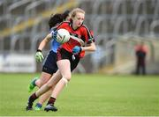 25 June 2017; Katie Lynch of Killygarry, Co. Cavan in action against Westport, Co. Mayo during the Girls Division 1 Shield Final at the John West Peile na nÓg national competition which took place this weekend across Cavan, Fermanagh and Monaghan. This is the second year that the Féile na nGael and Féile Peile na nÓg have been sponsored by John West, one of the world's leading suppliers of fish. The competition gives up-and-coming GAA superstars the chance to participate and play in their respective Féile tournament, at a level which suits their age, skills and strengths. Photo by Matt Browne/Sportsfile