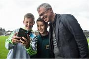 1 July 2017; RTE Pundit Joe Brolly with Mayo supporters Peter McHugh, age 12,  left, and his brother Tom, age 10, both from Hollymount Co. Mayo, before the start of the GAA Football All-Ireland Senior Championship Round 2A match between Mayo and Derry at Elverys MacHale Park, in Castlebar, Co Mayo. Photo by David Maher/Sportsfile