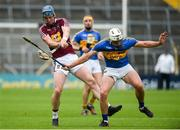 1 July 2017; Tommy Doyle of Westmeath is blocked down by Ronan Maher of Tipperary during the GAA Hurling All-Ireland Senior Championship Round 1 match between Tipperary and Westmeath at Semple Stadium in Thurles, Co Tipperary. Photo by Diarmuid Greene/Sportsfile