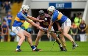 1 July 2017; Aonghus Clarke of Westmeath in action against Ronan Maher, left, and Joe O'Dwyer of Tipperary during the GAA Hurling All-Ireland Senior Championship Round 1 match between Tipperary and Westmeath at Semple Stadium in Thurles, Co Tipperary. Photo by Diarmuid Greene/Sportsfile