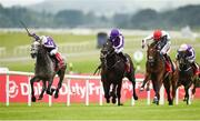 1 July 2017; Capri, left, with Seamie Heffernan up, beats second place Cracksman, right, with Pat Smullen up, and third place Wings Of Eagles, centre, with Ryan Moore up, on their way to winning the Dubai Duty Free Irish Derby during the Dubai Duty Free Irish Derby Festival 2017 on Saturday at the Curragh in Kildare. Photo by Seb Daly/Sportsfile