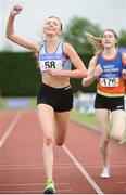 1 July 2017; Jodie McCann, DSD AC, celebrates winning the Junior Women's 1500m, at the Irish Life Health National Junior & U23 Track & Field Championship 2017 at Tullamore Harriers Stadium in Tullamore, Co Offaly. Photo by Tomás Greally/Sportsfile