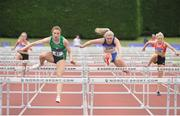 1 July 2017; left, Elizabeth Morland, Cushinstown AC, on her way to winning the Junior Women's 100m Hurdles, ahead of right, Molly Scott, Finn Valley AC, at the Irish Life Health National Junior & U23 Track & Field Championship 2017 at Tullamore Harriers Stadium in Tullamore, Co Offaly. Photo by Tomás Greally/Sportsfile