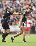 1 July 2017; Referee Maurice Deegan instructs Aidan O'Shea of Mayo to leave the pitch for medical attention on a cut to his leg during the GAA Football All-Ireland Senior Championship Round 2A match between Mayo and Derry at Elverys MacHale Park, in Castlebar, Co Mayo. Photo by David Maher/Sportsfile