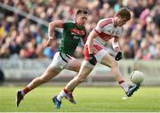 1 July 2017; Brendan Rogers of Derry in action against Cillian O'Connor of Mayo during the GAA Football All-Ireland Senior Championship Round 2A match between Mayo and Derry at Elverys MacHale Park, in Castlebar, Co Mayo. Photo by David Maher/Sportsfile