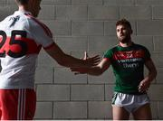 1 July 2017; Aidan O'Shea of Mayo shakes hands with Gavin O'Neill of Derry at the end of the GAA Football All-Ireland Senior Championship Round 2A match between Mayo and Derry at Elverys MacHale Park, in Castlebar, Co Mayo. Photo by David Maher/Sportsfile