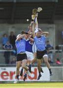 1 July 2017; Eamon Dillon, right, and Liam Rushe of Dublin compete a high ball against Cahir Healy and Eric Killeen of Laois during the GAA Hurling All-Ireland Senior Championship Round 1 match between Dublin and Laois at Parnell Park in Dublin. Photo by David Fitzgerald/Sportsfile