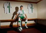 27 February 2012; Three, proud sponsors of the Republic of Ireland football team, today launches the new Umbro Republic of Ireland away jersey. Pictured wearing the new kit is Republic of Ireland player Shane Long. The Three sponsored jersey is available now and will be worn for the first time on the pitch for the Republic of Ireland's Euro 2012 warm up friendly match against the Czech Republic on Wednesday 29th February. To celebrate the launch, Three is giving away 8 pairs of tickets to the match, just go to www.facebook.com/3Football for more details, terms and conditions and apply. Gannon Park, Malahide, Co. Dublin. Picture credit: Pat Murphy / SPORTSFILE