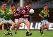 30 June 2002; Niall Coleman, Galway in action against Daniel Beck, Leitrim, Galway v Leitrim, Connacht Minor Football Championship Final, McHale Park, Castlebar, Mayo. Picture credit; David Maher / SPORTSFILE