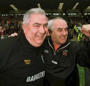 7   July 2002; Armagh manager Joe Kernan celebrates at the final whistle, Armagh v Donegal, Ulster Football Final, St Tighearnachs Park, Clones, Co. Monaghan. Picture credit; Damien Eagers / SPORTSFILE