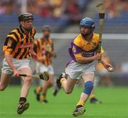 7 July 2002; Joe Codd, Wexford, in action against Michael Rice, Kilkenny. Wexford v Kilkenny, Guinness Leinster Minor Hurling Championship Final, Croke Park, Dublin. Picture credit; Brian Lawless / SPORTSFILE