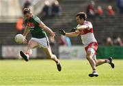 1 July 2017; Seamus O'Shea of Mayo in action against Benny Heron of Derry during the GAA Football All-Ireland Senior Championship Round 2A match between Mayo and Derry at Elverys MacHale Park, in Castlebar, Co Mayo. Photo by David Maher/Sportsfile