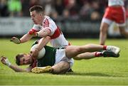 1 July 2017; Lee Keegan of Mayo in action against Niall Loughlin of Derry during the GAA Football All-Ireland Senior Championship Round 2A match between Mayo and Derry at Elverys MacHale Park, in Castlebar, Co Mayo. Photo by David Maher/Sportsfile