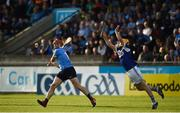 1 July 2017; Liam Rushe of Dublin in action against Lee Cleere of Laois during the GAA Hurling All-Ireland Senior Championship Round 1 match between Dublin and Laois at Parnell Park in Dublin. Photo by David Fitzgerald/Sportsfile