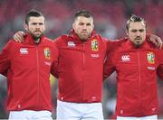 1 July 2017; British and Irish Lions players, from left, Elliot Daly, Sean O'Brien and Jack Nowell during the Second Test match between New Zealand All Blacks and the British & Irish Lions at Westpac Stadium in Wellington, New Zealand. Photo by Stephen McCarthy/Sportsfile