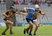 2 July 2017; Mark Grogan of Dublin in action against Eoin O'Shea and Jim Ryan of Kilkenny during the Electric Ireland Leinster GAA Hurling Minor Championship Final match between Dublin and Kilkenny at Croke Park in Dublin. Photo by Ray McManus/Sportsfile