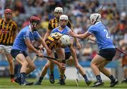 2 July 2017; Jim Ryan of Kilkenny in action against Ben Coffey, left, Lee Gannon and Andrew Duffy, right, of Dublin  during the Electric Ireland Leinster GAA Hurling Minor Championship Final match between Dublin and Kilkenny at Croke Park in Dublin. Photo by Ray McManus/Sportsfile