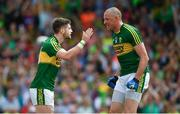 2 July 2017; Paul Geaney, left, of Kerry celebrates with team-mate Kieran Donaghy after scoring their side's only goal during the Munster GAA Football Senior Championship Final match between Kerry and Cork at Fitzgerald Stadium in Killarney, Co Kerry. Photo by Brendan Moran/Sportsfile