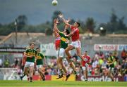 2 July 2017; Aidan Walsh, right and Alan O'Connor of Cork contest a high ball with Anthony Maher of Kerry during the Munster GAA Football Senior Championship Final match between Kerry and Cork at Fitzgerald Stadium in Killarney, Co Kerry. Photo by Brendan Moran/Sportsfile