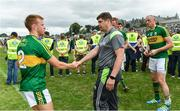 2 July 2017; Kerry manager Eamonn Fitzmaurice, right, with Fionn Fitzgerald after the Munster GAA Football Senior Championship Final match between Kerry and Cork at Fitzgerald Stadium in Killarney, Co Kerry. Photo by Brendan Moran/Sportsfile
