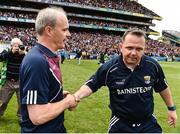 2 July 2017; Galway manager Micheál Donoghue shakes hands with Wexford manager Davy Fitzgerald at the end of the Leinster GAA Hurling Senior Championship Final match between Galway and Wexford at Croke Park in Dublin. Photo by David Maher/Sportsfile