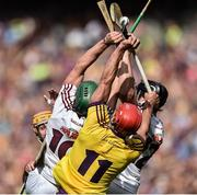 2 July 2017;  Niall Burke and Joseph Cooney of Galway in action against Lee Chin of Wexford during the Leinster GAA Hurling Senior Championship Final match between Galway and Wexford at Croke Park in Dublin. Photo by David Maher/Sportsfile