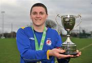 28 February 2012; Drogheda Institute of FE captain Garreth Toal with the Division 2 cup. Umbro CUFL Division Two Final, Drogheda Institute of FE v IT Carlow 'C', Greenogue, Peamount United FC, Peamount, Dublin. Picture credit: Barry Cregg / SPORTSFILE