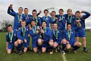 28 February 2012; The Drogheda Institute of FE team celebrate with the Division 2 cup. Umbro CUFL Division Two Final, Drogheda Institute of FE v IT Carlow 'C', Greenogue, Peamount United FC, Peamount, Dublin. Picture credit: Barry Cregg / SPORTSFILE