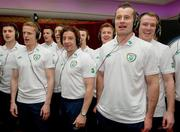 28 February 2012; Members of the Republic of Ireland squad, from left to right, Shane Long, Damien Duff, Stephen Henderson, Keith Andrews, Kevin Foley, Stephen Hunt, Simon Cox, Shay Given and Glenn Whelan add their vocals to the Ray D'Arcy shows' recently recorded 'Rocky Road to Poland', the Official Euro 2012 Song for the Republic of Ireland soccer squad. Portmarnock Hotel and Golf Links, Portmarnock, Co. Dublin. Picture credit: David Maher / SPORTSFILE