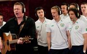 28 February 2012; Singer Damien Dempsey with members of the Republic of Ireland squad, from left to right, Shane Long, Damien Duff, Stephen Henderson, Keith Andrews, hidden, Kevin Foley and Stephen Hunt add their vocals to the Ray D'Arcy shows' recently recorded 'Rocky Road to Poland', the Official Euro 2012 Song for the Republic of Ireland soccer squad. Portmarnock Hotel and Golf Links, Portmarnock, Co. Dublin. Picture credit: David Maher / SPORTSFILE