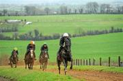 29 February 2012; Jetson, with Mark Bolger up, leads, from left, The Big Easy, with Kate Harrington up, Citizenship, who will run in the County Hurdle and Martin Pipe Conditional Hurdle, with Olena Sharhut up, and Jezki, Andrew Leigh up, during a yard visit ahead of the Cheltenham Festival, Commonstown Stables, Moone, Co. Kildare. Picture credit: Pat Murphy / SPORTSFILE