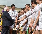 2 July 2017; Captain of Galway David Burke presents the Galway team to President of ireland Michael D Higgins before the start of the Leinster GAA Hurling Senior Championship Final match between Galway and Wexford at Croke Park in Dublin. Photo by David Maher/Sportsfile