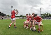 3 July 2017; Cork players take their seats ahead of the team picture during the Electric Ireland Munster GAA Hurling Minor Championship semi-final replay match between Cork and Tipperary at Páirc Uí Rinn, Cork. Photo by Eóin Noonan/Sportsfile