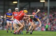 3 July 2017; Paddy Cadell of Tipperary in action against Craig Hanafin of Cork during the Electric Ireland Munster GAA Hurling Minor Championship semi-final replay match between Cork and Tipperary at Páirc Uí Rinn, Cork. Photo by Eóin Noonan/Sportsfile