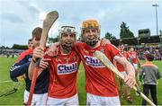 3 July 2017; Sean O'Leary Hayes, left and James Keating of Cork celebrate after the final whislte during the Electric Ireland Munster GAA Hurling Minor Championship semi-final replay match between Cork and Tipperary at Páirc Uí Rinn, Cork. Photo by Eóin Noonan/Sportsfile