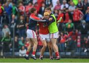 3 July 2017; Craig Hanafin of Cork celebrates with team mates at the final whislte during the Electric Ireland Munster GAA Hurling Minor Championship semi-final replay match between Cork and Tipperary at Páirc Uí Rinn, Cork. Photo by Eóin Noonan/Sportsfile