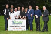 4 July 2017; RTÉ personality, and Chairman of Kildare Sports Partnership, Ray D'Arcy launched this year's 'Kildare Walking Festival' along with the recently published County Kildare Tow Path Trails booklet. The Walking Festival takes place from July 9th-30th. Pictured in attendance during the Kildare Walking Festival Launch are, from left, Kildare Sports Partnership coordinator Syl Merrins, walking leaders Mary Ryan, Frank Fahy, Eddie Hennessy, John Doran, Aine Buggy and Breda Konstantin, Mayor of Kildare, Cllr. Martin Miley Jnr, Colm O'Carrol, First Secretary of Kildare Sports Partnership, and Eamon Sinnott, Towpath Trails Book designer at Herbert Park in Ballsbridge, Dublin. Photo by Seb Daly/Sportsfile