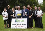 4 July 2017; RTÉ personality and Chairman of Kildare Sports Partnership, Ray D'Arcy launched this year's 'Kildare Walking Festival' along with the recently published County Kildare Tow Path Trails booklet. The Walking Festival takes place from July 9th-30th. Pictured in attendance during the Kildare Walking Festival Launch are, from left, walking leader Mary Ryan, Kildare Sports Partnership coordinator Syl Merrins, walking leader Breda Konstantin and John Doran, RTÉ personality and Chairman of Kildare Sports Partnership Ray D'Arcy, Mayor of Kildare, Cllr. Martin Miley Jnr, walking leaders Frank Fahy and Aine Buggy, Eamon Sinnott, Towpath Trails Book designer, and walking leader Eddie Hennessy, at Herbert Park, Ballsbridge, in Dublin. Photo by Seb Daly/Sportsfile