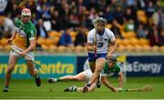 1 July 2017; Jamie Barron of Waterford in action against Oisin Kelly, left, and Sean Ryan of Offaly during the GAA Hurling All-Ireland Senior Championship Round 1 match between Offaly and Waterford at Bord na Móna O'Connor Park in Tullamore, Co Offaly. Photo by Sam Barnes/Sportsfile