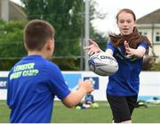 5 July 2017; Jamie Heaslip and Jamison Gibson-Park of Leinster Rugby came out to the Bank of Ireland Summer Camp to meet up with some local young rugby talent in Terenure College RFC. Pictured is Mia Joblin, right, from Knocklyon, Dublin. Terenure College RFC, Terenure, Dublin. Photo by Seb Daly/Sportsfile